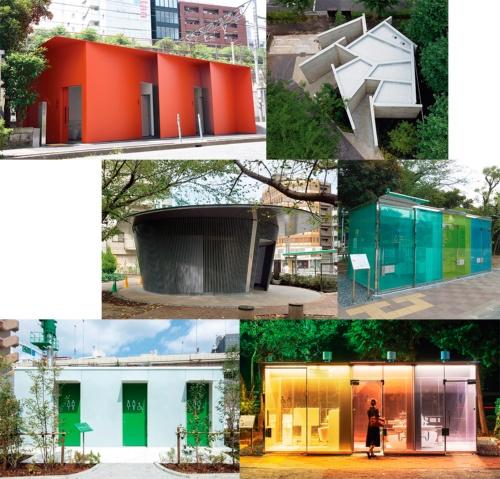 〔写真1〕「THE TOKYO TOILET」として、20年に個性的な7つの公共トイレが供用を開始した。上段左から田村奈穂氏、片山正通氏、中段左から安藤忠雄氏、坂茂氏、下段左から坂倉竹之助氏、そしてもう1つ坂氏がそれぞれデザインを担当した。1枚目の白いトイレは、槇文彦氏がデザインしたもの。21年には10の公共トイレが完成する(写真:日本財団、Kozo Takayama、日経アーキテクチュア、永禮 賢)