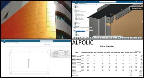 [図2]アルミ樹脂複合板「アルポリック」をビル外装に活用するソフトウエア。製作図作成までのプロセスを自動化する(資料:シンテグレート)