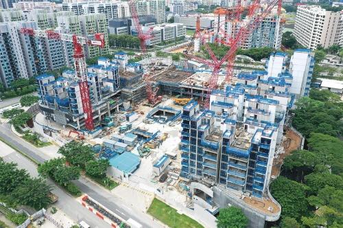 〔写真2〕ドローンで撮影したウッドレイ複合開発工事の全景