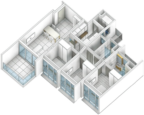〔図2〕複数のモジュールを組み合わせて住戸に