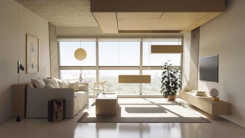 クローゼットやデスクなどを、天井から自在に呼び出すことができる(資料:Bumblebee Spaces)