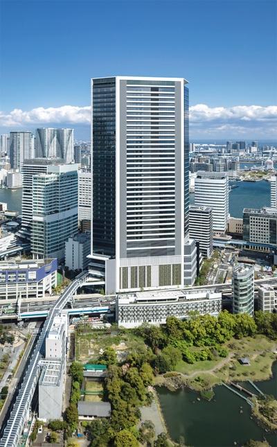 2020年9月14日に開業した「東京ポートシティ竹芝」。警備ロボットとエレベーターを連動させ、フロア間の移動を可能にする仕組みも取り入れている(写真:東急不動産)