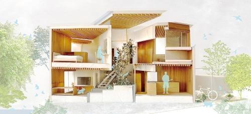 家族とペットが適度な距離感を保ちながら、一緒に暮らす家。住宅内の環境を4枚の壁で分ける。冬至の日光の入射角を計算し、最大限日の光を入れられる形で壁の角度を決定した