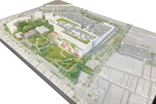 イオンモールによるオフィス併設型の商業施設第1号。空間構成やサービスの面で働く場所との連携を図り、新たなライフスタイルを提案する。西隣に連続する工場跡地では、別事業者による地上19階建て、計462戸の集合住宅プロジェクトも進行。一体で「名古屋駅エリア最大級の複合開発」とうたう
