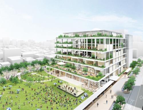 市民会館の建て替えに際し、図書館や子育て支援の機能を集約。館内を「立体的な公園」と位置づけ、前面の芝生広場と相互に浸透し合う建物を目指す。1階をコンクリート土間とし、2階以上も大地を感じさせるような空間とする。総工費は約160億円