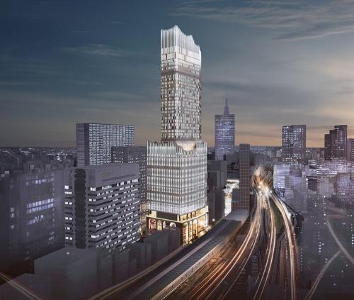 ネオン街の新たなシンボルとなることを目指す、高さ225mのタワー。劇場やライブホール、映画館などから成る複合エンターテインメント施設。バス乗降場も整備し、空港とのアクセスも良くする(資料:東急、東急レクリエーション)