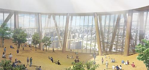 地上57階、ホテルロビー内観のイメージ。大丸有地区を広く見渡せる