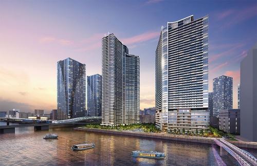 総戸数2786戸の商住複合大規模開発。コロナ禍を受けて設計変更し、個室ブース付きのコワーキング施設などを共用部に備える