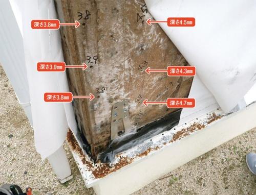 〔写真1〕合板厚さの半分程度までくぎがめり込む