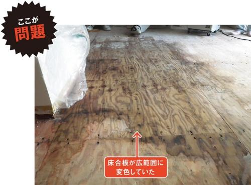 1階の床合板が雨でぬれて広範囲に変色していた現場。1階床を先行して施工し、棟上げ前に降った雨がビニール養生から入り込んだ。一般に、建て主は「木材はぬらしたらダメだ」と思い込んでいることが多く、軽微なぬれでも問題があるように感じる(写真:カノム)