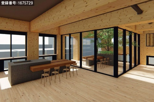 屋内とテラスで一体的に配置されるミーティングスペースの形状(資料:大林組)