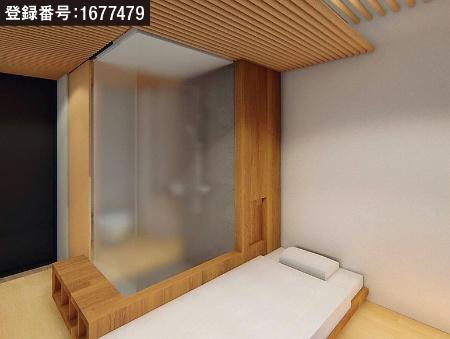 宿泊室のシャワーブースとベッドの仕切り部(資料:大林組)