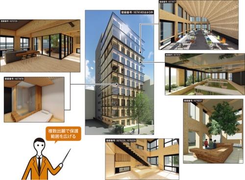 大林組は、横浜市で建設中の研修施設で大量の意匠登録を済ませた。この建物には宿泊施設や多目的スペースを備えている。建築物としてだけでなく、階段やベンチに関する物品の意匠権も登録した(資料:大林組)