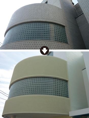 改修前の外壁(上)と改修後の外壁(下)。改修後は塗装仕上げ(写真:コニシ)