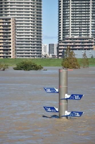 〔写真1〕荒川の水位も上昇