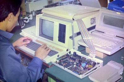 当時の開発風景(1986年頃の米沢日本電気)