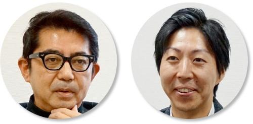 サッポログループマネジメントの安西政晴BPR推進室長(左)と同室の河本英則課長代理