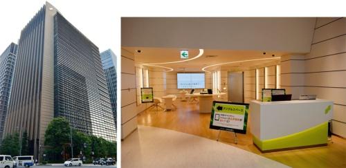 三井住友銀行の本店ビル(左)。インターネットバンキングを体験してもらうデジタルスペースなどを設けた次世代型店舗(右)への移行も進める(写真提供:三井住友銀行)
