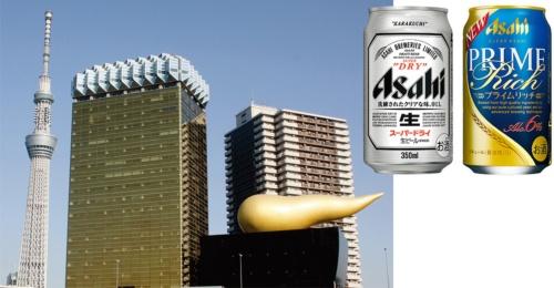 右:主力商品の「スーパードライ」とリニューアルした新ジャンルの「プライムリッチ」 左:アサヒビール本社ビル(東京・墨田)