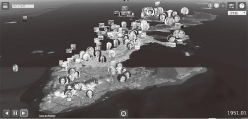 沖縄全土の地図に当時の回顧録を組み合わせ、時系列で表現した