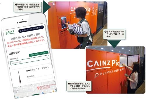図 店頭の専用ロッカーやサービスカウンターを使った取り置きサービス「CAINZ PickUp」