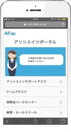 顧客のスマホに音声ガイダンスの選択肢を表示する「ビジュアルIVR」の画面