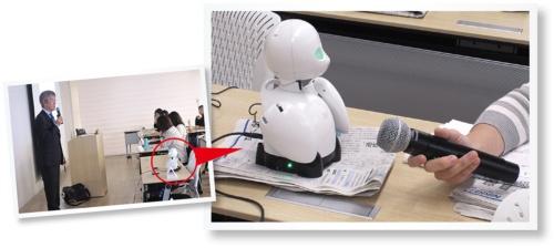 図 地方の社員が本社の研修に参加するために使うオリィ研究所の分身ロボット「OriHime」