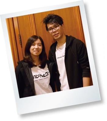 台湾のセキュリティーコンサルティング会社DEVCOREのプリンシパルセキュリティーリサーチャー、オレンジ・ツァイ氏(右)とセキュリティーリサーチャーのメー・チャン氏