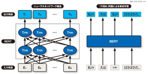 図 BERTの構造と事前学習の手法