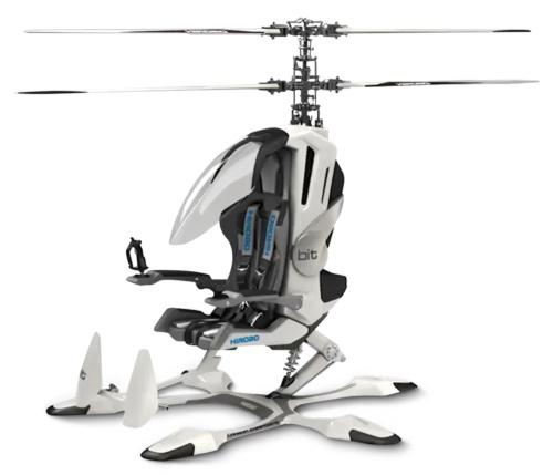 ヒロボーが開発した電動式の1人乗りヘリコプター「bit」。「タケコプター」のように使える(写真提供:ヒロボー)
