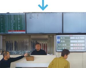 仲買人(左下)が入札し、落札状況をモニター画面に示す