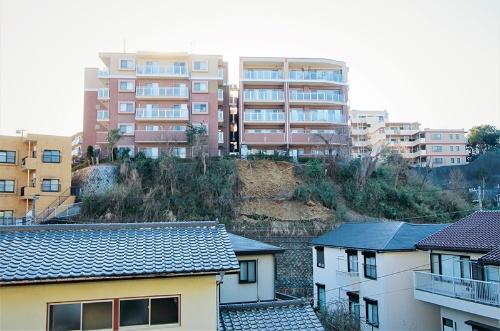 写真4■ マンション東側から土砂崩落の現場を望む。2月6日撮影(写真:日経クロステック)