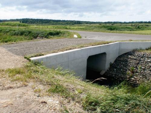 写真1■ 完成後に杭基礎の強度不足が判明した函きょ。農道の土留めとなる翼壁は右岸側(左手前)よりも左岸側の方が長い(写真:国土交通省)