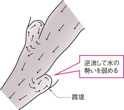 図2■ 開口部から逆流する「霞堤」