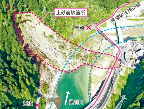 図1■ 斜面崩壊による土砂で河道閉塞