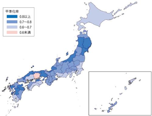 図1■ 平準化率0.6未満の都道府県は岡山だけ