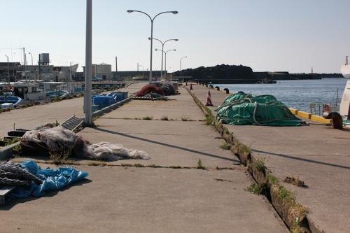 写真4■ 段差が生じた鼠ケ関港の第二物揚げ場。写真右側のブロックが持ち上がったように見える。地元の漁協は山形県に補修を求める方針だ(写真:日経 xTECH)