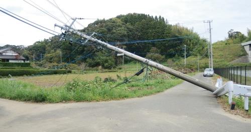 写真1■ 台風15号で倒れた千葉県茂原市の電柱。2019年10月15日撮影(写真:日経 xTECH)
