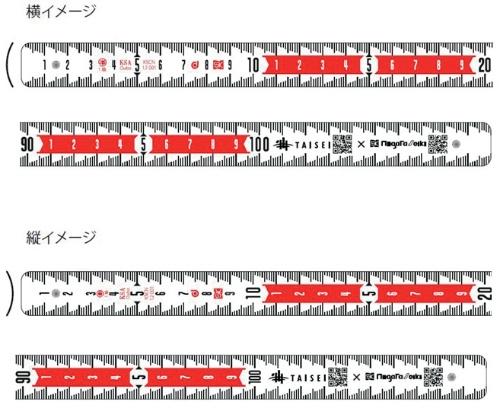 写真2■ 目盛りは、撮影した写真からでも寸法が確認しやすいよう視認性を高めた。10cm単位で紅白に色分けしている。1mm単位の目盛り線は階段状で読み取りやすい(写真:大成建設)