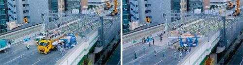 写真1■ 専用の架設機によるUFC床版の荷下ろしから架設までの流れ。トラックの荷台からUFC床版を直接受け取り(左の写真)、その場で旋回。所定の位置まで運搬した後、床版を下ろして架設する(写真:阪神高速道路会社、鹿島)