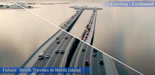 図1■ 海上の橋梁を2車線から4車線に拡幅