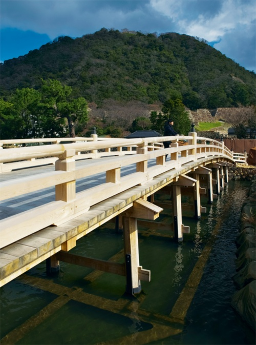 写真2■ 堀をのぞくと水中梁がうっすらと見える。橋脚遺構の上部に梁を渡して、復元橋の木製橋脚を配置。水面から橋脚を約10cm上げる効果があり、木の腐食を防ぎ、木橋の耐用年数を向上させる。水中梁が見やすいようにフィルターを付けて撮影した(写真:生田 将人)