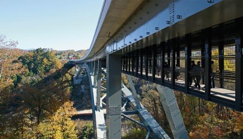 写真1■ 国指定名勝・天龍峡に架かる天龍峡大橋を右岸から見る。自動車専用道路で車道脇に歩道を造れないため、桁下に検査路を兼ねた幅2mの歩道を設置した。80mの高さから雄大な渓谷を眺望できる(写真:安川 千秋)