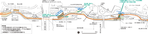 <b>[平面図:水上ステージ(勝山公園前)~鷗外橋左岸周辺改善図]</b>