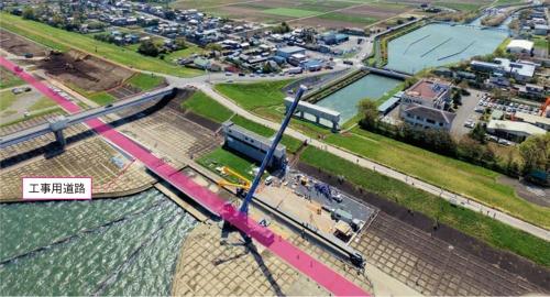 写真1■ 建設中の工事用道路(赤い帯の箇所)。左下が取水口、右上が武蔵水路(写真:古郡建設)