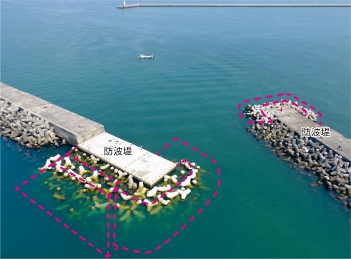 写真1■ 施工完了時の現場をドローンで撮影。和歌山下津港の防波堤の延伸に伴い、破線の範囲で基礎捨て石の荒ならしや消波ブロックの据え付けなどを実施した(写真:東組)