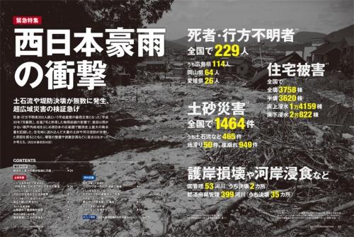 土石流で1人が亡くなった広島市安佐北区口田南3丁目。写真左手前の渓流から下った土石流が右手の石積み擁壁などにぶつかって左に向きを変え、土砂災害警戒区域からやや外れた宅地にも被害が及んだ(写真:日経コンストラクション)