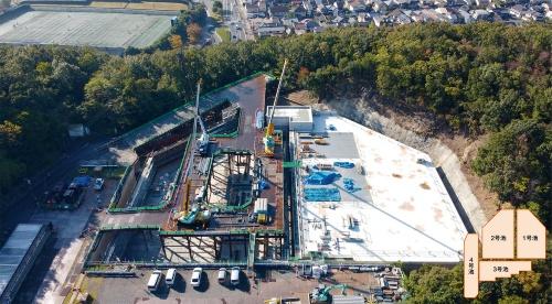 写真2■ 写真右が1号池。左の2号池の工事に着手している(写真:飛島建設)