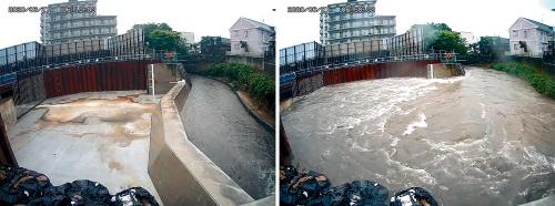 写真3■ 2020年6⽉7⽇の地下河川への流⼊状況。左の写真が午前6時10分、右が午前6時50分。川が増水すると、写真左側にある地下河川への流入施設に流れ込む。流域面積は4.4km2と川の規模は小さいものの、雨が降ると水位が急激に上昇しやすい(写真:福岡県)