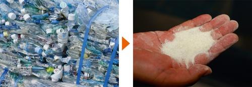 図1■ 廃ペットボトルを粉砕して特殊な改質剤に